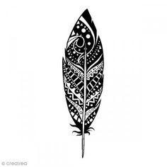 Sello de madera Pluma deco - 2,6 x 7,5 cm - Fotografía n°1