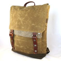 Tall Boy Waxed Canvas Backpack by WoolyBison on Etsy, $225.00