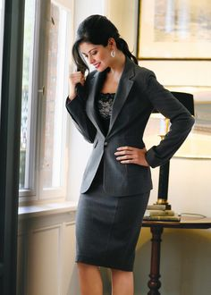 Business Formal: A sleek charcoal suit presents a clean and professional look. Paired with a nice blouse and accessories, this outfit is perfect for anywhere that a business formal look is required. Business Fashion, Business Professional Attire, Professional Dresses, Office Fashion, Work Fashion, Professional Women, Fashion Fall, Style Fashion, Formal Fashion