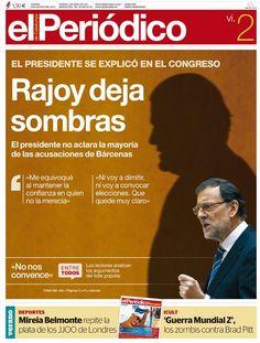 Genial portada de El Periódico de Catalunya tras las 'explicaciones' del presidente Rajoy.