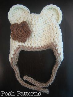 Crochet PATTERN Bear Earflap Hat Crochet Hat por PoshPatterns