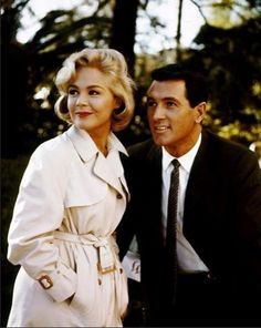 Rock 'handsome' Hudson and Sandra Dee in 1961 on set of 'Come September'