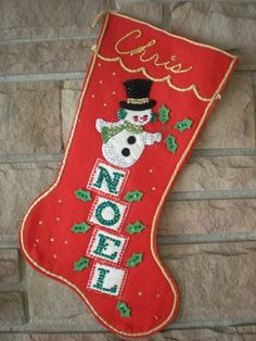Last year Nifty posted her felt Christmas stocking and surmised it must have been a popular style in the I must agree with her. Christmas Stocking Decorations, Vintage Christmas Stockings, Stocking Ideas, Felt Stocking, Christmas Table Cloth, Xmas Stockings, Whimsical Christmas, Retro Christmas, Handmade Christmas