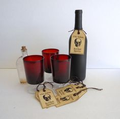 Halloween Bottle Tags  wine glass hang tag by RaggedyRee on Etsy, $5.00
