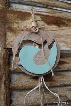 Μπομπονιέρα Βάπτισης Διακοσμητικό ξύλινο με Πουλάκι bell-34