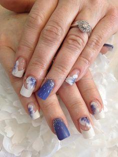 Cornflower gel polish 10 and white gel one stroke nail art over acrylic nails