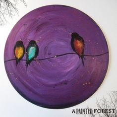 Vinyl Record Painting  Bird Painting  Red Blue by apaintedforest, $40.00