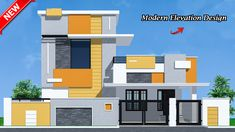 New house elevations House Front Wall Design, Village House Design, Kerala House Design, Gate Designs Modern, Modern Small House Design, Cool House Designs, Building Elevation, House Elevation, Compound Wall Design