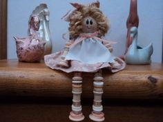 Handmade Button and Thread Spools Doll Decoration 5 by sissyclarke