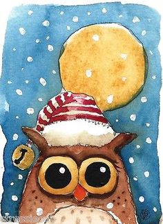 Owl with a bell... Enjoy! ACEO Original Watercolor Folk Art Illustration Whimsical Baby Owl Moon Snow Bell   eBay