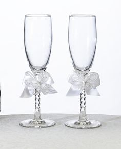 White Butterfly Toasting Glass Flute