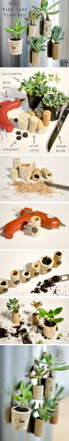 Diy: Tiny Planters From Upcycled Wine Corks via @1001Gardens
