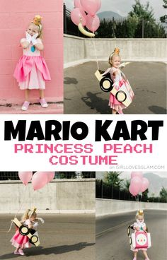 Mario Kart Halloween Princess Peach Costume Princess Peach Halloween Costume, Halloween Costumes To Make, Halloween Porch, Easy Halloween Costumes, Family Halloween, Halloween Themes, Good Dye Young, King Boo, Girl Costumes