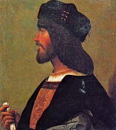Cesare Borgia, anon (c. 1500-10). Profile portrait, Palazzo Venezia, Rome. Possibly a copy of an original contemporary portrait. Paolo Giovio's engraving is based on this or the lost original.