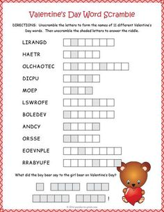 Loads of fun Valentine's Day word scramble worksheet is just hard enough to keep everyone guessing. Unscramble the words and find the answer to the riddle.