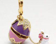 purple Enamel Easter Egg Pendant Charm 3D swarovski Crystal Pave Easter egg Bunny Peter rabbit pendant Winnie the Pooh Vintage Decorative