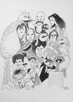 The cast of Sesame Street caricatured by Al Hirschfeld
