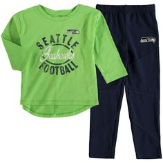 Seattle Seahawks Girl s Toddler Fan Gear Football Sweetheart Long Sleeve  T-Shirt and Pant Set - Neon Green College Navy bf8d3f9d4