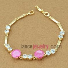 Fashion bracelet with white and rose red color zirconia beads