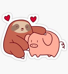 Bubble Stickers, Cat Stickers, Funny Stickers, Baby Sloth, Cute Sloth, Sloth Drawing, Kawaii Pig, Chibi Cat, Homemade Stickers