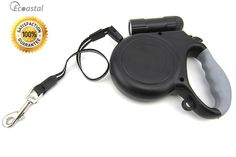 Retractable Dog Leash, Ecoastal Dog Leash with Bright 9 LED Detachable Flashlight, 16ft Extend Rope (Black ) >>> You will love this! More info here : Leashes for dogs