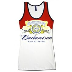 "Official Budweiser Long Bottle Women's Tank Top. This Budweiser women's tank top features an image of the classic Budweiser label found on a bottle of Bud. Shirt displays the phrase, ""Budweiser, King of Beers"" directly below the label. Licensed from Budweiser!<strong>Material:</strong>100% cotton<b>Approx. Sizing:</b>Small - 14.5""W 29""LMedium - 15""W 29""LLarge - 16""W 31""LXLarge - 17.5""W 32""L #beer #women #top"