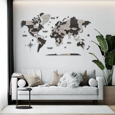 Black & Grey Wood 3D World Map by MapFromWood. Wood Wall Art Wooden World Map Office Decor World Map Wall Art Push Pin Travel Map 5th Anniversary Gift. Wooden world map for living room, bedroom, hallway, kids room, home office wall decoration. Our wooden map was created to make your apartment or office really cool and beautiful. #mapdecor #bedroomdecor