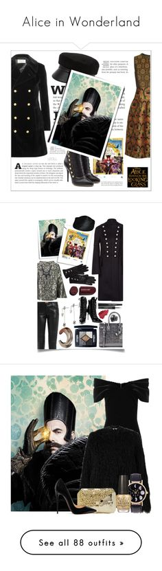 """""""Alice in Wonderland"""" by yours-styling-best-friend ❤ liked on Polyvore featuring Yves Saint Laurent, Balmain, Eugenia Kim, Etro, contestentry, DisneyAlice, Burberry, Sania Studio, True Religion and Christian Dior"""