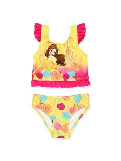 6f1989f4a4aaa Disney Princess Girls Swimwear Swimsuit (Toddler Little Kid) Body  85%  Polyester 15% Spandex  Lining  100% Polyester Imported Swimsuit features UPF  50+ ...