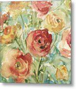 Red Orange And Yellow Ranunculus Metal Print by Beverly Brown