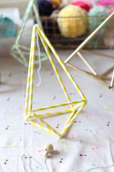 DIY Himmeli Pailles Papier - Paper Straw Suspension ornaments tutorial