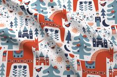 Fun fabric in a folk art inspired pattern in traditional red and blue, but with a fairy tale theme of unicorn, trees, birds, castle. Feels wintry without snow or christmas icons. Fairy Tale Theme, Fairy Tales, Knitting Projects, Craft Projects, Christmas Icons, Scandinavian Style, Custom Fabric, Spoonflower, Folk Art