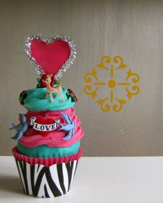 Fake Cupcake Retro Rockabilly Tattoo Themed Cupcake w/ Miniature Vintage Deer Entitled All Tatted Up
