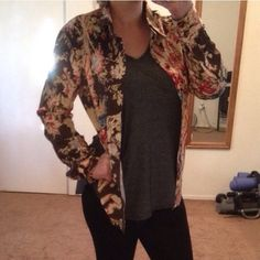 Just Cavalli colorful top Button down top, colorful with a little gold throughout. Originally men's but best for women. Size 50 or XL. Roberto Cavalli's Just Cavalli line. Really cute worn oversized with sleeves rolled. NO TRADES. Price is firm Just Cavalli Tops Button Down Shirts