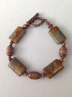 Jasper and copper bracelet on Etsy, $16.00