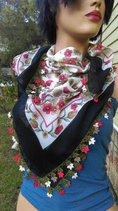 Boho Cotton Scarf Tulip Scarf Crochet Scarf  Oya Scarf  Hippie Head Band Floral Scarf Boho Belt Turkish Scarf Yemeni Colorful Scarf