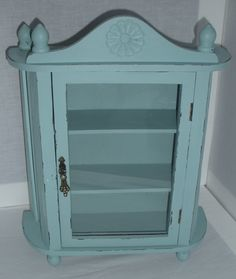 Wall Curio Cabinet Display Shelf   Distressed Cottage Chic   Farmhouse    Jewelry Box