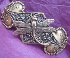 Beautiful Antiqued Brass Dragonfly Hair Barrette