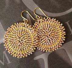 Small Beaded Disc Earrings Bright Sun Goddess by WorkofHeart