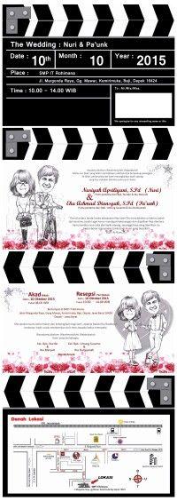 Clapper board theme for wedding invitation