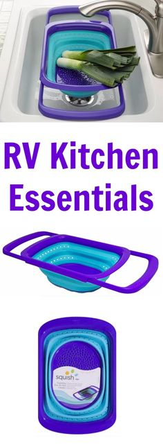 Make the most of your small RV kitchen by only taking the essential kitchen items. And those essentials need to be practical, minimalist and easy to store. If an colander is on your list of RV kitchen essentials then go no further than a collapsible over-the-sink design. #ad #collapsible #RVkitchenessentials #colander #collapsiblecolander
