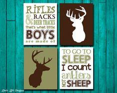 Hunting Nursery Wall Art. Rifles, Racks, & Deer Tracks and To go to SLEEP I count Antlers not SHEEP.