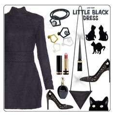 Lace little black dress and lovely black cats ;-) by amisha73 on Polyvore featuring moda, Gucci, Roberto Cavalli, Christian Louboutin and Anna Field
