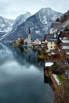 The Alpine town of Hallstatt, Austria, in winter,  beautifully located by the lake