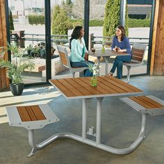 Beacon Hill Bamboo Bistro Table With 2 Flat Seats | Picnic Tables |  Upbeat.com