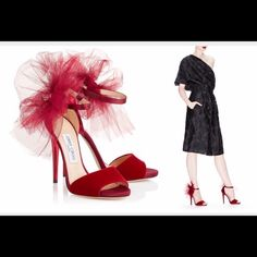 Brand new Jimmy Choo red Velvet and tulle bow Never been worn so beautiful I have 2 pairs of one sells I'll keep the other. Please NO TRADES Please don't ask and no low balling  Jimmy Choo Shoes Heels