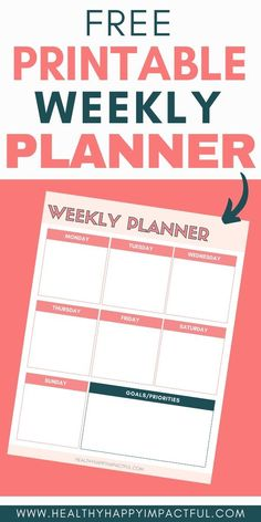 Free printable weekly planner for your success. Print out this free weekly planner template and use it to create a magnificent plan for all of your top goals - family time, work, fitness, diet, etc. Check out the best planner layout for your productivity. Get started today! #freeweeklyplanner #weeklyplannerideas #freeprintableplanner Weekly Planner Template, Printable Planner, Free Printables, Time Planner, Planner Layout, Good Motivation, Best Planners, Goal Planning, Time Management