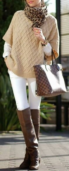 #thanksgiving #outfits Beige Knit // Leopard Scarf // White Skinny Jeans // Leather Over The Knee Boots