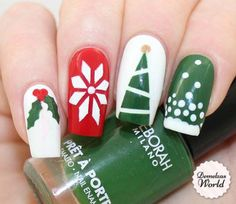 Video Tutorial: How To: Christmas Star (for Deborah Milano Beauty Club) Holiday Nail Designs, Holiday Nail Art, Cool Nail Designs, Toe Designs, Sparkly Nails, Fancy Nails, Pretty Nails, Christmas Manicure, Christmas Nail Art
