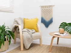 Macrame Wall Hanger with Britta Armchair, Ruby Rug and Basse Table Bedroom Lanterns, Macrame Wall Hanger, Nursery Accessories, Old Wall, Blue And Copper, Modern Wall Decor, Upholstered Furniture, Cool House Designs, Trendy Colors
